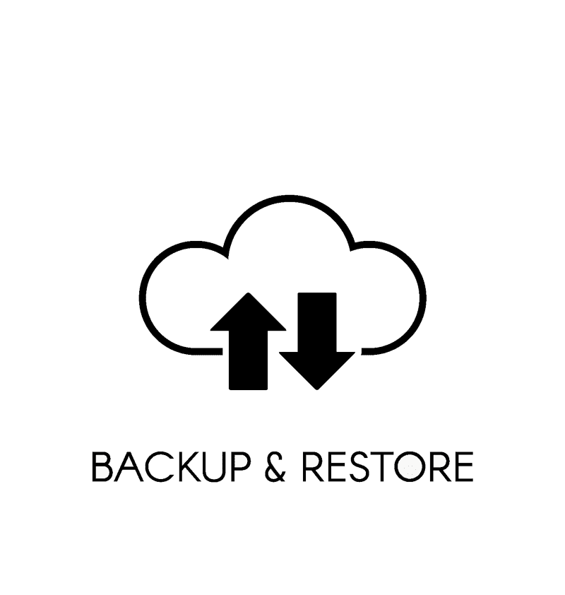 Cloud with up and down arrow for backup and restore