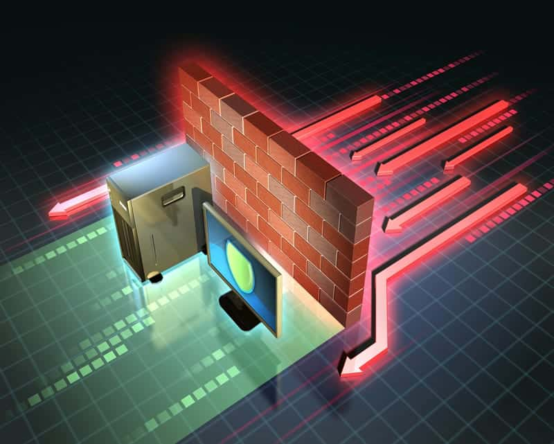 Icon depicting firewall protecting computer from network viruses