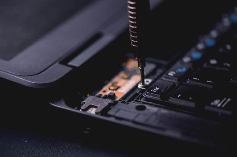 Laptop being disassembled because it is unable to connect to the network